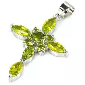 Classic Green Peridot & Silver Cross Pendant